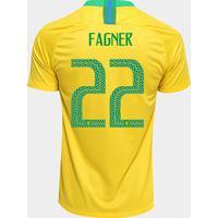 d1ccc18cd9 Netshoes  Camisa Seleção Brasil I 2018 Nº 22 Fagner - Torcedor Nike  Masculina - Masculino