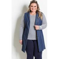 Colete Alongado Jeans Azul Marguerite Plus Size