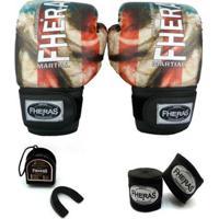 Kit Boxe Muay Thai Fheras Top - Luva Bandagem Bucal - Unissex