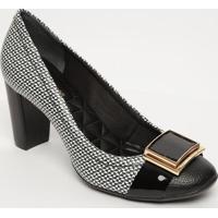 Sapato Tradicional Em Couro Com Fivela- Preto & Branco