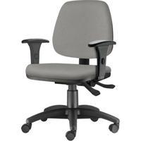 Cadeira Job Com Bracos Semi Curvados Assento Crepe Cinza Claro Base Nylon Arcada - 54629 - Sun House