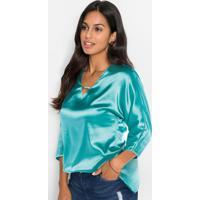 Blusa Em Tecido Acetinado Verde