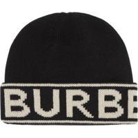 Burberry Gorro De Cashmere Com Logo - Preto