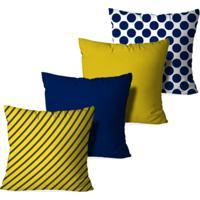 Kit 4 Capas Para Almofadas Decorativas Love Decor Poo And Stripes Multicolorido Amarelo