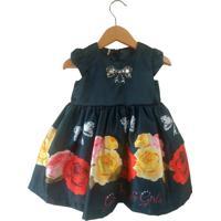 Vestido Gira Baby Kids Barrado Rosas