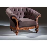 Sofá Luxo 1 Lugar Madeira Maciça Design Clássico Avi Móveis