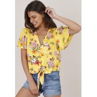 Blusa Feminina Estampada Floral Com Nó E Botões Manga Curta Decote V Amarela