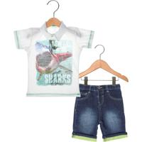 Conjunto 2Pçs Marisol Sharks Infantil Bege/Azul