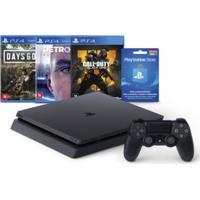 Console - Playstation 4 - Slim Bundle Hits V5 - 1Tb Com 3 Jogos - Playstation