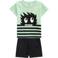 Pijama Monstro Com Listras- Verde Claro & Preto- Kidbrandili