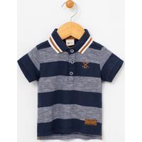 Camiseta Infantil Listrada Com Gola Polo - Tam 0 A 18 Meses