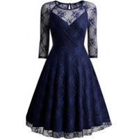 Vestido De Renda Com Manga 3/4 Transparente - Azul