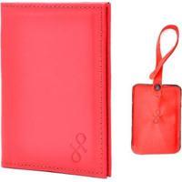 Kit Hendy Bag 1 Porta-Passaporte E 1 Tag De Mala Couro - Feminino