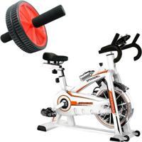 Bike Spinning Oneal Tp1100 Semi Profissional + Roda De Exercícios Liveup - Unissex
