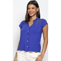Camisa Com Renda- Azul Royal- Maclumaclu
