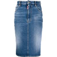 Dsquared2 Saia Lápis Jeans Cintura Média - Azul