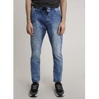 Calça Jeans Masculina Slim Com Puídos E Cordão Azul Médio