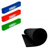 Kit 3 Mini Band Dagg Pro Faixa Elástica E Tapete Yoga Pilates Eva