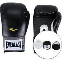 Kit De Boxe Everlast: Bandagem + Protetor Bucal + Luvas De Boxe Training - 12 Oz - Adulto - Preto