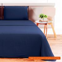 Jogo De Cama Solteiro Loft Azul Marinho 160X240 Cm