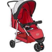Carrinho De Bebê Passeio Baby Style Junne - Unissex-Vermelho