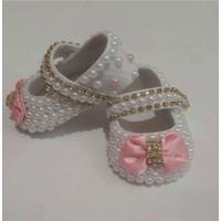 Sapato Para Bebê Rosa Com Strass E Pérolas