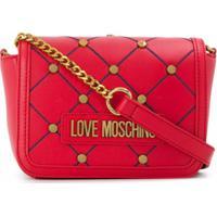 Love Moschino Bolsa Transversal Com Logo De Tachas - Vermelho