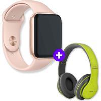 Kit Smartwatch Iwo9 44Mm Dourado + Headphone Bluetooth P47 Verde