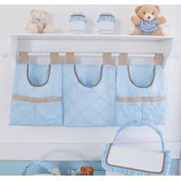 Porta Fraldas Urso Coroa Real 3 Peças - Maria Lua Baby - Branco / Azul / Caqui