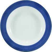 Prato Fundo 23 Cm Porcelana Schmidt - Dec. Cilíndrica Pintura À Mão Azul