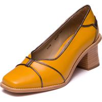 Sapato Amarelo Em Couro Pelica - Amarelo / Metalizado Aco - 9305
