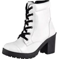 Bota Feshion Sapatofranca Ankle Boot Salto Médio Com Cadarço Branca