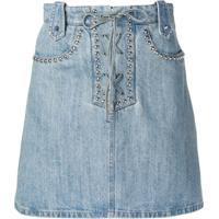Miu Miu Saia Jeans Com Tachas E Amarração - Azul