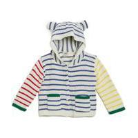 Casaco Para Bebê Fábula Em Tricot Listrado Com Capuz E Botões Off White - P