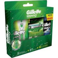 Kit De Barbear Gillette Sensitive Mach3 Aqua-Grip - Masculino-Verde