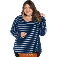 Blusa Alongada Feminina Rovitex Plus Azul