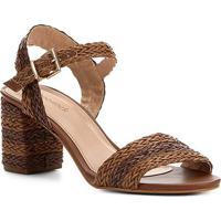 Sandália Shoestock Trança Salto Bloco Feminina - Feminino-Caramelo