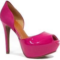 Sapato Bebecê Peep Toe Verniz - Feminino-Pink
