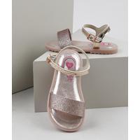 Sandália Infantil Molekinha Com Glitter Rosê
