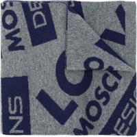 Love Moschino Cachecol Com Logo De Cashmere - Cinza