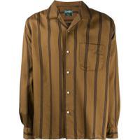 Gitman Vintage Satin Regimental Stripe Camp Shirt - Marrom
