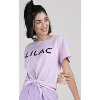 """Blusa Feminina Cropped """"Lilac"""" Com Nó Manga Curta Decote Redondo Lilás"""