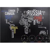 Quadro Mapa E Relógio Mundi Fullway 100X140
