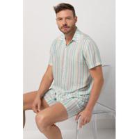 Conjunto De Pijama Acuo Retrô Verão Retrô Masculino - Masculino-Cinza