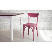 Cadeira De Madeira Para Churrasqueira Torneada Com Encosto E Assento Anatômico Lilás Amélie - 44,5X45X81 Cm
