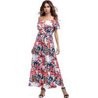 Vestido Longo De Estampa Floral Tomara Que Caia Com Laço