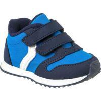Tênis Infantil Klin Mini Walk Velcro Masculino - Masculino-Azul