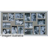 Painel Para 16 Fotos- Branco & Cinza- 43X83X3Cm-Kapos