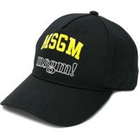 Msgm Kids Boné Com Estampa De Logo - Preto