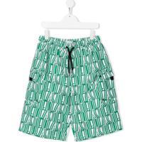 Stella Mccartney Kids Short De Natação Com Estampa De Logo - Verde